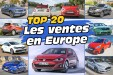 Top 20 des voitures les plus vendues en Europe en 2016