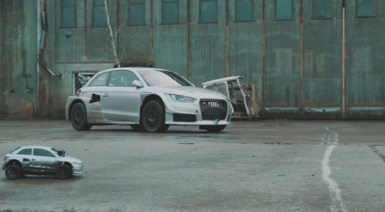 Vidéo : duel entre l'Audi S1 rallycross et sa réplique miniature