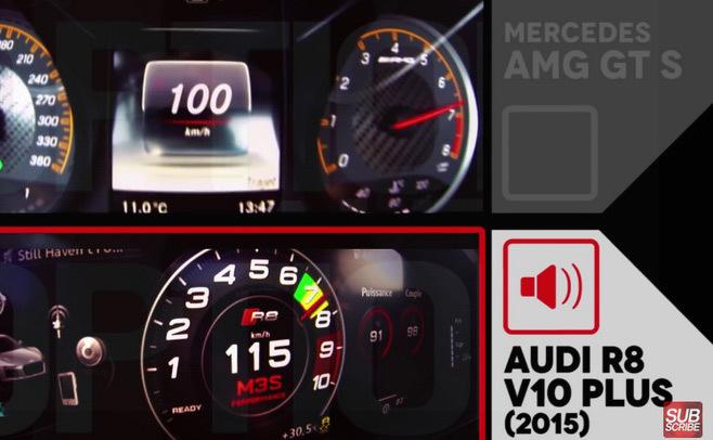 Duel de compteurs au sommet : AMG GT S contre R8 V10 Plus