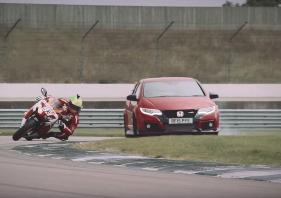 Vidéo : duel 100% Honda entre une Civic Type R et une CBR1000RR