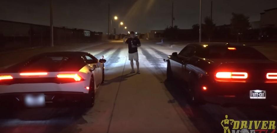 Vidéo : duel de titans entre une Huracan et une Challenger Hellcat