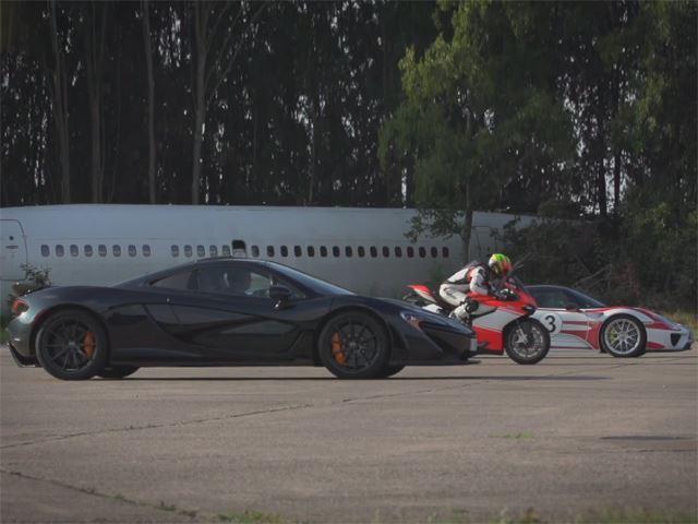 McLaren P1 et Porsche 918 affrontent une Ducati 119 Superleggera